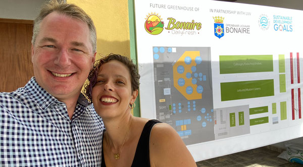 Nelson and Pade, Inc. customers, Bob and Lauri Janssen of Bonaire Daily Fresh. They are expanding from a MicroFarm 3 to a large commercial venture on the island of Bonaire.